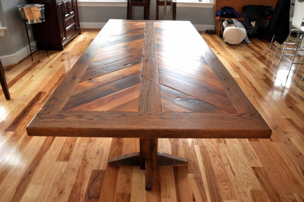 Chevron Dining Table A Rustic Grain Signature Piece