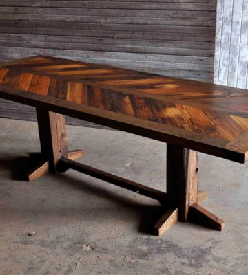 Castlewood chevron table angle view pine oak oil