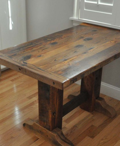 Rustic Wood Couch ~ Discount reclaimed wood dining table